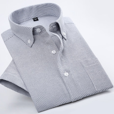 Price Comparisons Casual Oxford Spinning Solid Color Men Plus Sized Shirt Short Sleeved Shirt Gray Thin Strips