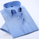 Casual Oxford Spinning Solid Color Men Plus Sized Shirt Short Sleeved Shirt Ocean Blue Price Comparison