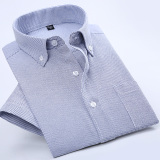Cheaper Casual Oxford Spinning Solid Color Men Plus Sized Shirt Short Sleeved Shirt Sky Blue Thin Strips