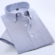 Casual Oxford Spinning Solid Color Men Plus Sized Shirt Short Sleeved Shirt Sky Blue Thin Strips Oem Discount