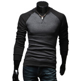 Discounted Casual Patchwork Round Neck Male Long Sleeve Shirt Black Intl