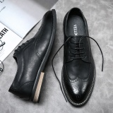 Compare Casual Shoes Bullock Casual Shoes Tide Shoes Carved Punch Breathable Summer New British Style Retro Male Big Yards Black
