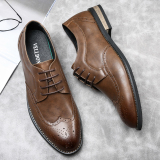 Price Comparison For Casual Shoes Bullock Style Casual Shoes Tide Shoes Carved Punch Breathable New Style British Style Retro Men Plus Sized Brown
