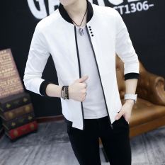 Casual Thin Slim Fit Spring And Autumn Men S Jacket White Reviews