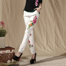Best Chinese Style National Wind Embroidered Autumn New Style Feet Pants Casual Pants White