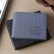 Coupon Casual Washed Navy Men Slim Wallet Hybrid Pockets Multi Card Slots Id Window Intl