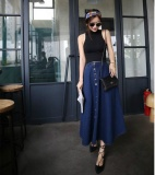 The Cheapest Casual Women S A Line Full Length Denim Skirt New Cut Fabric Flared Jean Maxi Intl Online