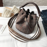 Review Women S Leather Woolen Tartan Handbags Bucket Sling Bag Maomao Bag On China