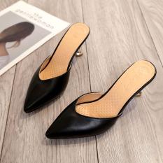 Buy The Little Woman Korean Female Kitten Heel Pointy Toe Half Slippers Baotou Slippers Black Black Cheap China