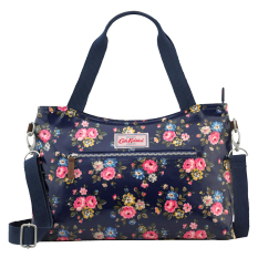 Sale Cath Kidston Oilcloth Zipped Handbag With Detachable Strap 16Ss Latimer Rose Dark Navy Colour 556279 On Singapore