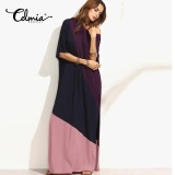 Buy Cheap Celmia 2017 Latest Fashion Women Long Dresses Color Patchwork Summer Dress Short Sleeve Off Shoulder Split Shift Maxi Dress Purple Intl