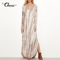 Celmia Plus S 5Xl Women Long Sleeve Plunge V Neck Pockets Tie Dye Shirt Long Maxi Dress Intl Lower Price