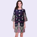 Discount Celmia Women Ladies Boho Round Neck Half Sleeve Backless Floral Print Casual Loose Short Mini Dress Navy Intl Oem