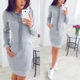 Coupon Celmia Womens Casual Hooded Long Sleeve Pockets Sweatshirt Sweater Hoodies Jumper Dress Light Grey Intl
