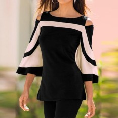 Best Rated Celmia Womens Fashion Cold Shoulder Round Neck 3 4 Sleeve Color Block Slim Fit Casual Tops Blouse Black Intl