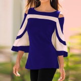 Sale Celmia Womens Fashion Cold Shoulder Round Neck 3 4 Sleeve Color Block Slim Fit Casual Tops Blouse Blue Intl Celmia Online