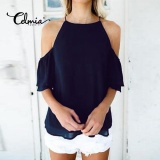 Who Sells Celmia Womens Ladies Casual Off Shoulder Short Sleeve Plain Chiffon Loose Shirt Tops Blouse Navy Blue Intl Cheap