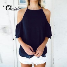 Sale Celmia Womens Ladies Casual Off Shoulder Short Sleeve Plain Chiffon Loose Shirt Tops Blouse Navy Blue Intl On China