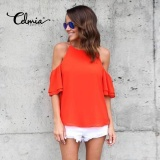 Celmia Womens Ladies Casual Off Shoulder Short Sleeve Plain Chiffon Loose Shirt Tops Blouse Orange Intl Celmia Cheap On China