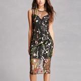 Celmia Womens Ladies Fashion Crew Neck Sleeveless Back Zip Floral Embroidery Sheer Mesh Dress Black Intl Free Shipping