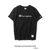 Who Sells Champion Street Fashion Men Women Japanese Style Embroidery Letter Logo High Quality Pure Color Cotton Casual Loose Round Neck Short Sleeves T Shirt Black Intl Cheap
