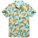 Cheapest Charmkpr Mens Plus Size Hawaiian Pineapple Printing Loose Sunscreen Summer Shirt Sky Blue Intl Online
