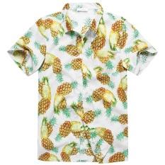 Sales Price Charmkpr Mens Plus Size Hawaiian Pineapple Printing Loose Sunscreen Summer Shirt White Intl