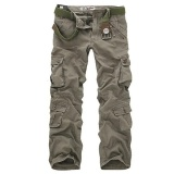 Charmkpr Mens Plus Size Outdoor Military Casual Multi Pockets Cotton Sport Cargo Pants Army Green Intl For Sale