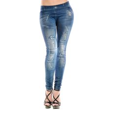 Cheer Women Fashion Painting Denim Ripped Faux Jean Pants Legging Free Size Slim - Intl By Cheerforbuy11.