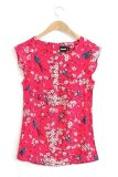Price Cherry Blossom Ruffled Sleeves Blouse 12709 Red Singapore