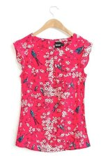 Sale Cherry Blossom Ruffled Sleeves Blouse 12709 Red On Singapore