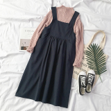 Price Compare Loose Korean Style Solid Color Student Skirt Dress Sapphire Blue Color