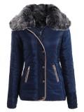 Cheaper Chic Turn Down Neck Long Sleeve Pocket Design Padded Coat For Women Navy Intl