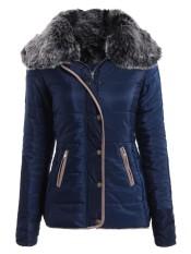 Get Cheap Chic Turn Down Neck Long Sleeve Pocket Design Padded Coat For Women Navy Intl