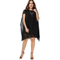 48775e2547 Chiffon Asymmetric Plus Size Cape Dress(Black) - intl