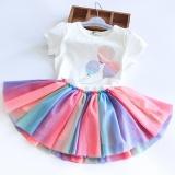 Sale Children Girls Summer Suit White Short Sleeved Cat Balloon Print T Shirt Rainbow Mesh Skirt Kids Princess Skirt 2Pcs Set Intl Oem Cheap