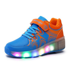Children Heelys Shoes With Led Lights Kids Roller Shoes With Wheels Wear Resistant For Boys G*rl Sneakers Blue Cheap