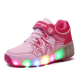 Buy Children Heelys Shoes With Led Lights Kids Roller Shoes With Wheels Wear Resistant For Boys G*rl Sneakers Pink Oem