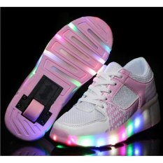 Best Offer Children Led Light Heelys Jazzy Shoes Boys Girls Heelys Roller Shoes Skate Shoes Children Sports Shoes 27 43 Pink Swissant Intl