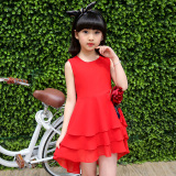 Children Young Student S Summer Chiffon Skirt Girls Dress Red Girls Chiffon Dress Deal