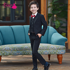 Cheaper Korean Style Children Hua Tong Children S Dress Suit Five Pieces Set Suit Trousers Vest White Shirt Wine Red Bow Tie