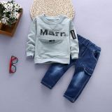 Buy Children S Clothing 2017 New Baby Autumn Dress Suit Boys Spring Round Neck Hoodie Children S Jeans Two Piece Sets 1 6 Years Old Marm Long Sleeved Sets Green On China