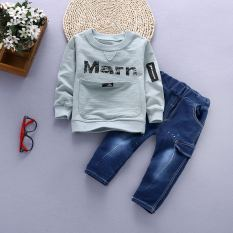 Discount Children S Clothing 2017 New Baby Autumn Dress Suit Boys Spring Round Neck Hoodie Children S Jeans Two Piece Sets 1 6 Years Old Marm Long Sleeved Sets Green