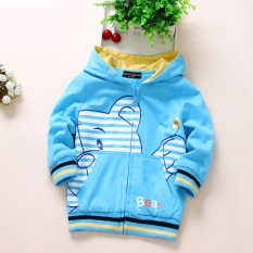 Korean Style Cotton Spring And Autumn Bear Cardigan Blue Coupon
