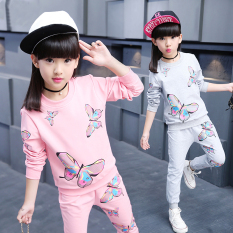 Sale Floral Girls New Style Long Sleeved Cotton Young Student S Children S Clothing Gray On China