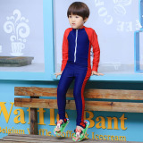 Sale Boy S Girls Long Sleeved Jellyfish Diving Suit Children S One Piece Swimsuit 6002 Color Children Dark Blue Spell Red Oem On China