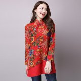 Promo Chinese Style Vintage Plate Buttons Small Collar Dress Skirt Red