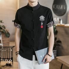 Store China Wind Men Fifth Sleeve Linen Shirt Short Sleeved Cotton Retro Plate Buttons Collar Embroidered Shirt Chinese Han Chinese Clothing Tang Black Oem On China