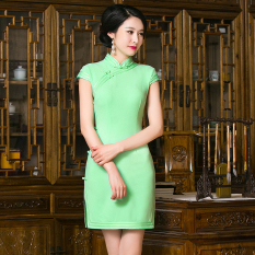 Brand New Chinese Solid Color Mini Dresses Cheongsam Green