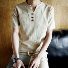 Chinese Style Solid Youth Short Sleeved Plus Sized T Blood V Neck T Shirt Beige Beige In Stock